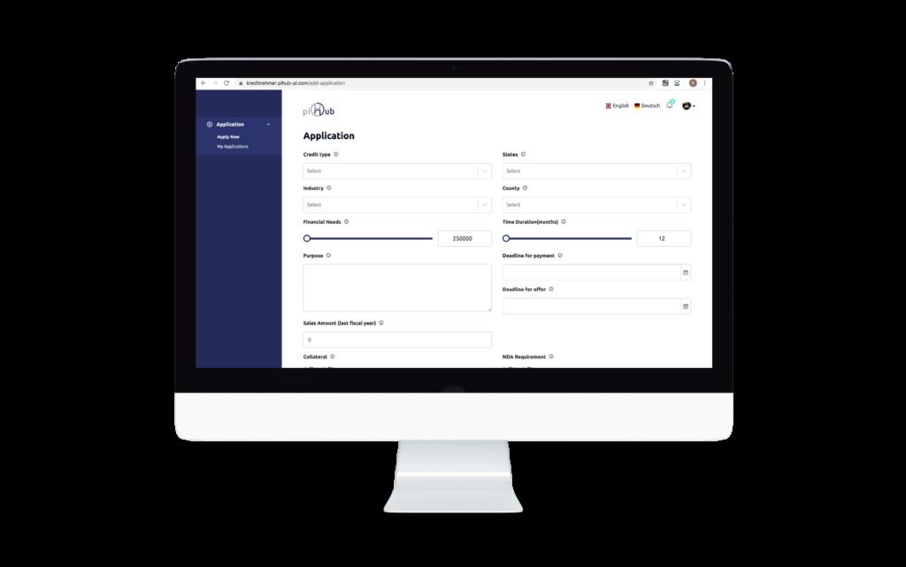 Use Case: Pihub - Webanwendung Plattform für Kreditdienstleistungen